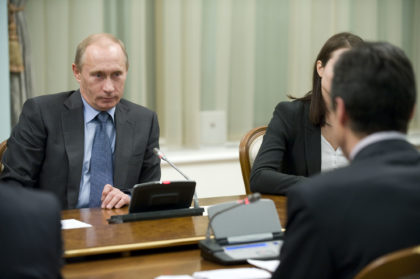 The Prime Minister of Russia Vladimir Putin during his bilateral meeting with NATO Secretary General Anders Fogh Rasmussen.