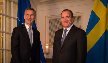 NATO Secretary General Jens Stoltenberg meets with the Prime Minister of Sweden Stefan Lofven